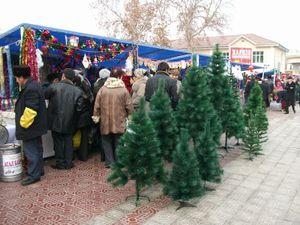 クリスマスツリーの露店