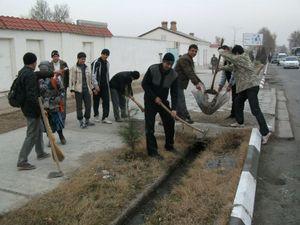 大学前の道路の清掃