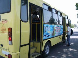 広告付きのラッピングバス
