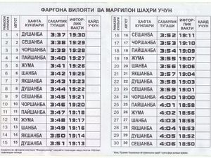 日の出・日の入りの時刻表