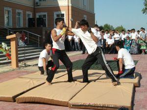 学生による格闘技の演舞