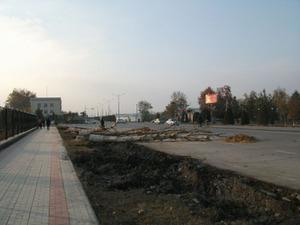 空港通りの工事
