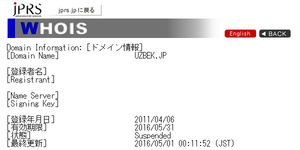 whois情報Suspended
