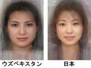 女性の平均顔(ウズベキスタン・日本)