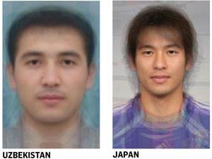 男性の平均顔(ウズベキスタン・日本)