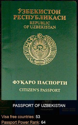 ウズベキスタンのパスポート 「私の戦闘力は53です」