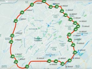 ウズベキスタンの首都タシュケントの山手線(路線図)